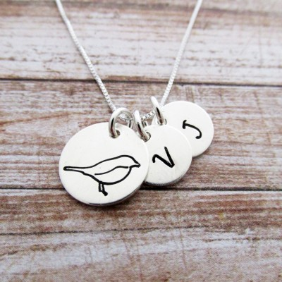 MaMa Bird Charm Necklace, Two Initials, Hand Stamped Personalized Jewelry
