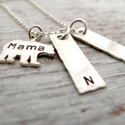 Mama Bear Sterling Silver Hand Stamped Necklace, Kids Name Necklace, Mother's Necklace, 2 kids names, 3 kids names, Christmas Gift