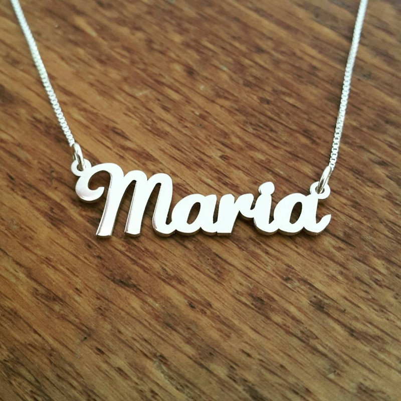 f04f309ef Maria Style Nameplate Necklace / Solid sterling silver nameplate and chain  / Lauren Script font / Personalized name necklace / Free shipping