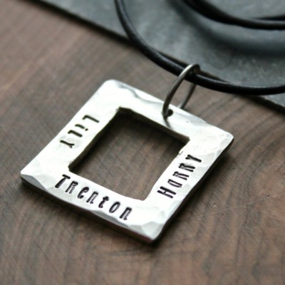 Men's Personalized Necklace, Leather Men's Necklace, Father's Gift, Mans Square Necklace, Men's Gift, Hand Stamped Necklace - Shawn Necklace