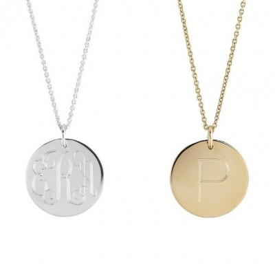 """Modern MONOGRAM 3/4"""" pendant necklace in sterling silver, 14k Yellow or Rose Gold fill • custom engraved gifts for her • Initial charm"""