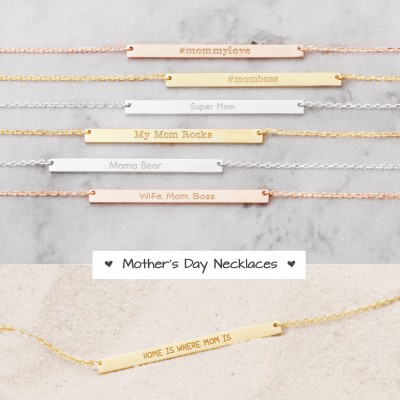 Mommy Bar Necklaces - My Mom Rocks - Special Mother's Day Necklaces - Gifts for Moms - Mother's Day Gifts - PN29