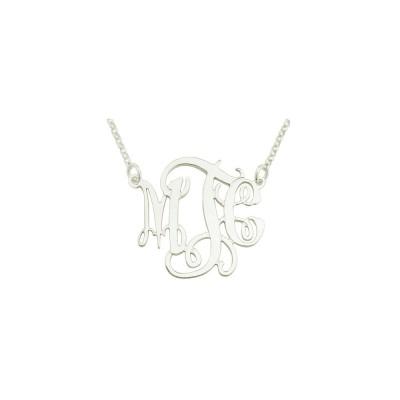 "Mono113 -  1.75"" Sterling Silver Elegant Monogram Necklace"