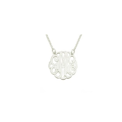 """Mono131 - .75"""" Sterling Silver Curly Monogram Necklace"""