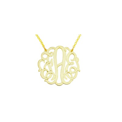 "Mono134y - Yellow Gold Plated 1.25"" Sterling Silver Curly Monogram Necklace"