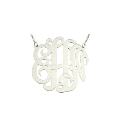 "Mono306 - 1.25"" Sterling Silver Brush Finished Monogram Necklace"