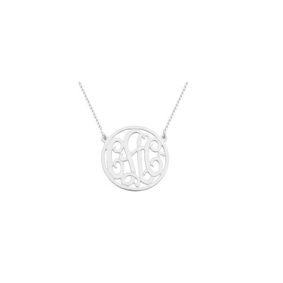 """Mono45 - Rhodium Plated 1"""" Sterling Silver Circle Monogram Necklace"""