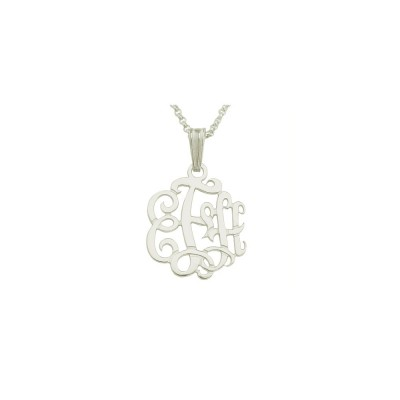 "Mono70 - Rhodium Plated 7/8"" Sterling Silver Monogram Necklace w/ Pendant Bail"