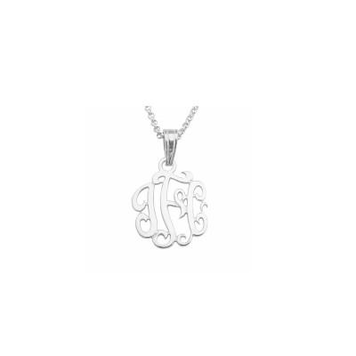 "Mono73 -Rhodium Plated .75"" Sterling Silver Monogram Necklace w/ Pendant Bail"
