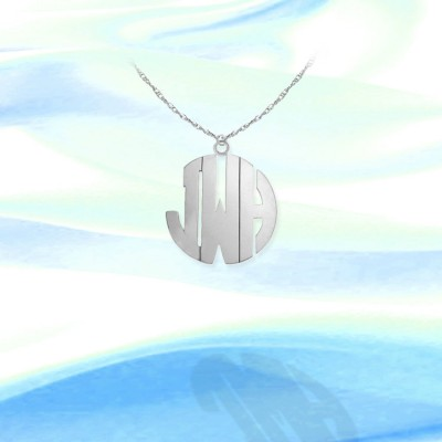 Monogram Necklace - 1/2 inch 14K White Gold - Handcrafted Personalized Monogram - Initial Necklace - Made in USA