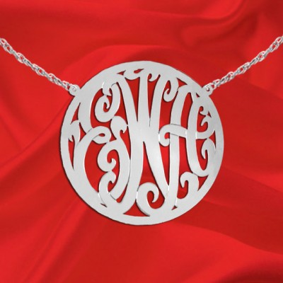 Monogram Necklace - 1.75 inch Sterling Silver Handcrafted Personalized Initial Necklace - Made in USA