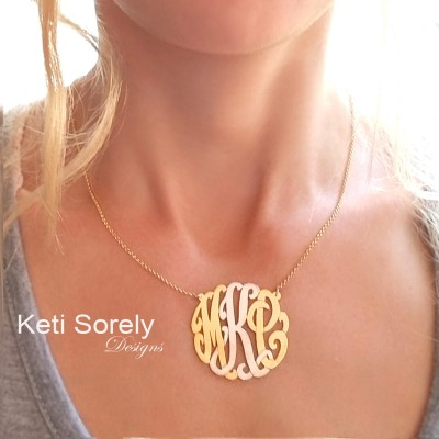 Monogram Necklace - Personalized Initials Necklace in Two Tone (Order Any Initials) Yellow Gold or Rose Gold With Platinum Middle Initial