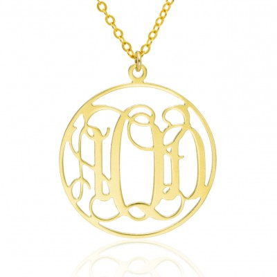 Monogram Necklace 1.0 inch- 14k Gold filled Personalized Necklace Monogrammed Necklace bridesmaids gift