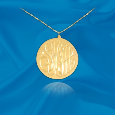 Monogram Necklace .5 inch 24K Gold Plated Sterling Silver Hand Engraved Personalized Initial Necklace - Made in USA