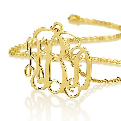 Monogram necklace - Gold Plated Monogram necklace - Gift for her