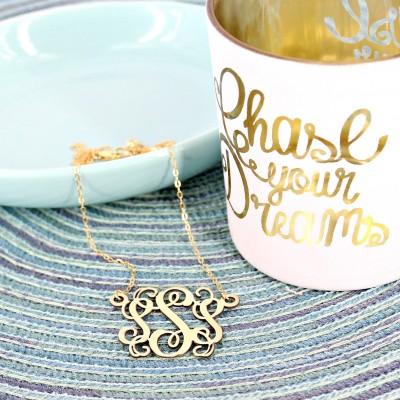 Monogram necklace • Personalized vine monogram necklace • 1.25 inch Monogram necklace • Initial necklace • Silver or Gold monogram