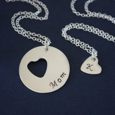 Mother and Daughter Necklace Personalized, Heart Charm, Sterling Silver Necklace, Monogram Necklace, GG, Gigi, daughter, Mothers Day Gift