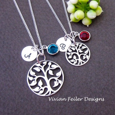 Mother daughter Necklace Set Birthstone Initial TREE Of Life Sterling Silver Mother Son Mom Jewelry Mother Day Gift Excellent Qualit