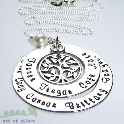 Mother's Day - Tree necklace - Hand stamped necklace - Grandma necklace - Personalized jewelry up to 8 names