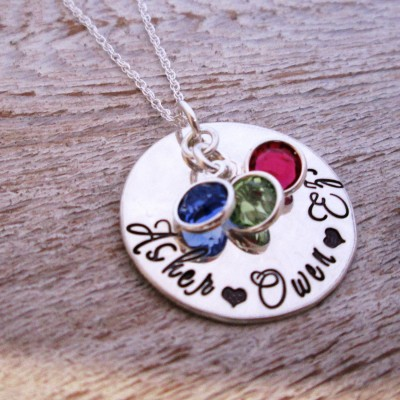 Mothers Necklace - Loving Mother - Hand Stamped Jewelry - Personalized Jewelry  - Sterling Silver Family Necklace with birthstones