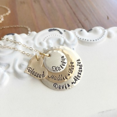 Mothers Necklace . Personalized Jewelry . Engraved Jewelry . Name Necklace . Custom Jewelry . Gift for Mom . Silver and Gold . Grandmother