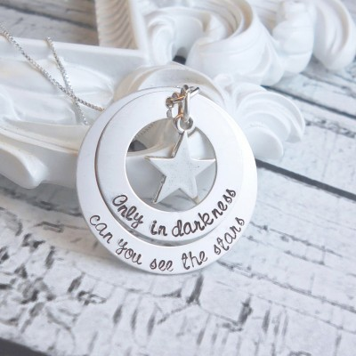 Mother's Personalized Necklace - Personalized Washer Necklace - Personalized Layered Necklace - Sterling Silver Custom Necklace - Star Charm