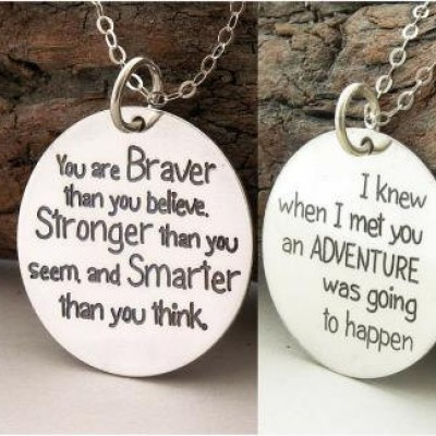 """Motivational quote COMBO 2 quotes in ONE """"You are braver..."""" custom engraved handmade sterling silver necklace/key ring, Best friend gift"""