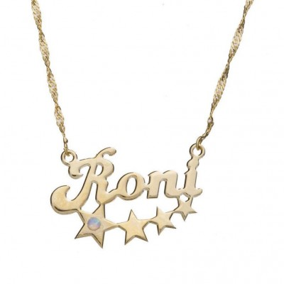 Name Custom Necklace with stars Name necklace Pendant Gold filled Personalized Name Jewelry gift for woman