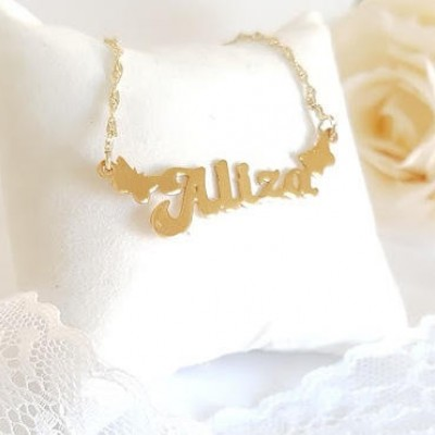 Name Custom necklace  butterfly name necklace Pendant Gold filled Personalized Name Jewelry Gift