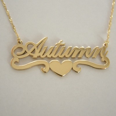 Name Necklace Gold Nameplate Necklace Double Thickness Gold Necklace 20 birthday gift Personalized Name Necklace Heart Necklace With Name