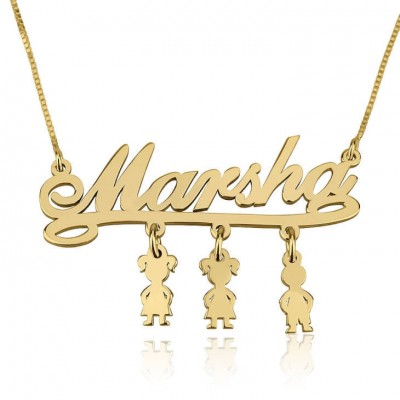 Name Necklace Jewelry Pendant 24k Gold Plated Mother Name Necklace with Dangling Kids Charms