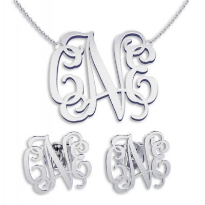 Necklace and Earring sets Silver Monogram Necklace Name Jewelry, bridesmaid earrings, bridesmaid necklace