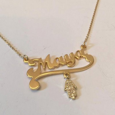 Necklace name - Personalized Name Necklace Gold Nameplate  - Daughter Gift - Tween Girl - Best gift for girls - Gift for her - Hamsa