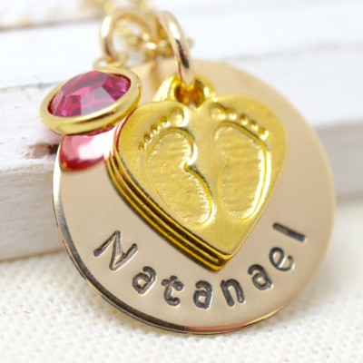 New Mom Necklace, Gift for Mom, Mothers Necklace, Baby Feet Necklace, Mommy Jewelry, Push Gift for Mom, Gold Necklace for Mom, New Mom Gift
