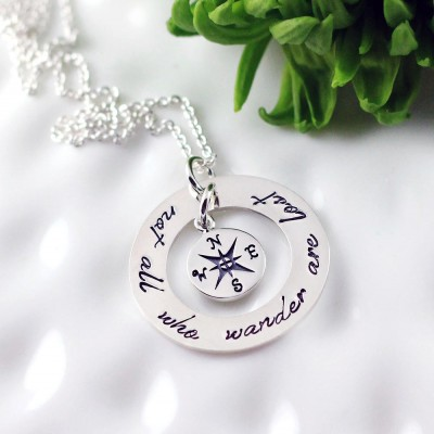 Not all who wander are lost necklace - Sterling silver compass necklace - Hand stamped jewelry, Graduation gift, Personalized, Inspirational