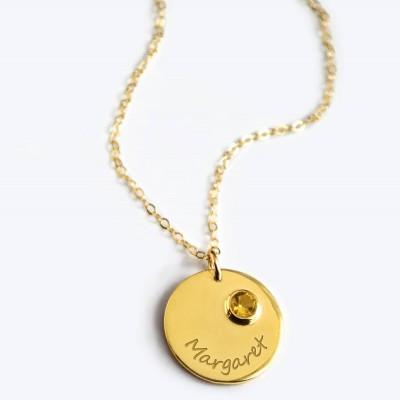 November Birthstone Necklace, Personalized Bridesmaid Necklace, Citrine Necklace, Engraved Gemstone Disk Necklace, Custom Name Necklace