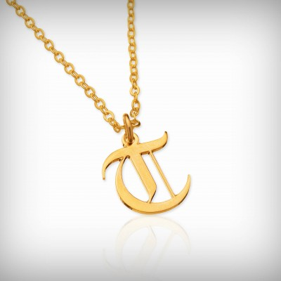 Old English font necklace gold Gothic custom necklace initial necklace personalized necklace Gothic necklaces for women