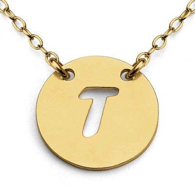 Openwork Initial Letter T Coin Charm Pendant Jump Ring Necklace #14K Gold Plated over 925 Sterling Silver #Azaggi N0427G_T