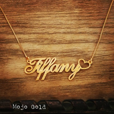 Order Any Name/Tiffany Nameplate/18K Gold Plated Name Necklace and Chain/Nameplate With Heart/Heart Pendant With Chain Chain/XMas Gift/Heart
