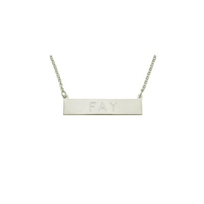 """PLNP11ws -  Rhodium Plated Sterling Silver 1.25"""" Personalized ID Plate Necklace"""