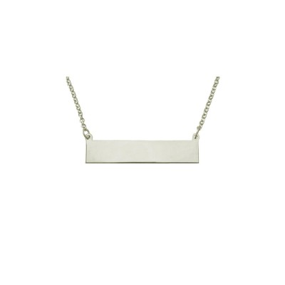 """PLNP13wb  - Rhodium Plated Sterling Silver 1"""" Plain ID Plate Necklace"""