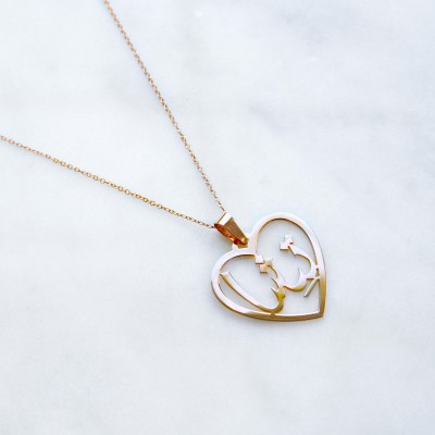 Persian/Arabic SOLID GOLD Heart Pendant Necklace