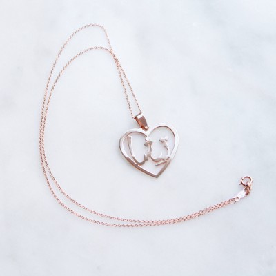 Persian/Arabic Silver/Gold-Plated Heart Pendant Necklace