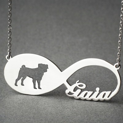 Personalised INFINITY PUG Necklace - Pug necklace - Name Necklace - Memorial Necklace - Dog Necklace