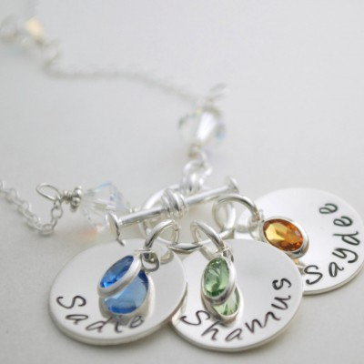 Personalized  Name Necklace - Silver Charm Necklace with Birthstones - Sterling Toggle Necklace - Hand Stamped Personalized Jewelry for Her