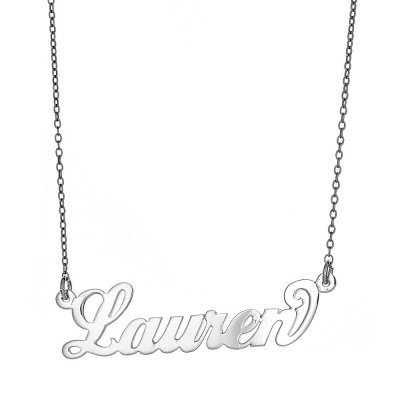 """Personalized .925 Sterling Silver """"Carrie"""" Script Name Plate Necklace, 3 grams (Made in USA)"""