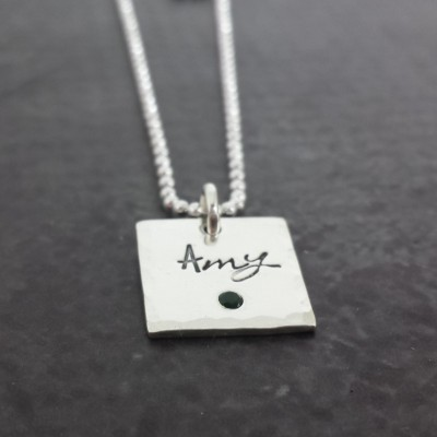 Personalized Birthstone Square Necklace - Hand Stamped Name Necklace - Flush Set Birthstone Jewelry - Sterling Silver Necklace