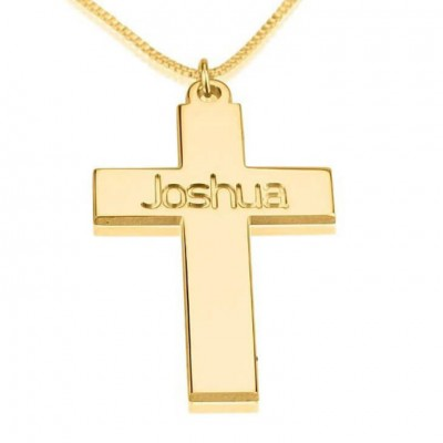 Personalized Cross Necklace, 24k Gold Plated Cross Necklace, First Communion Gift, Confirmation Gift,