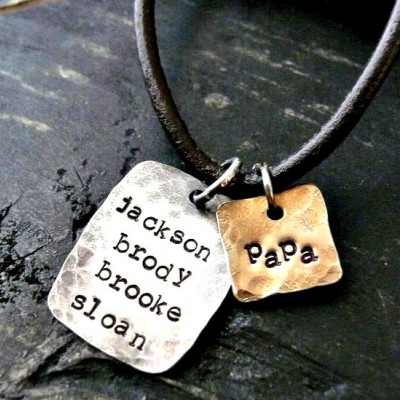 Personalized Fathers Gifts - Fathers Personalized Necklace - Mens Personalized Necklace - Mans Hand Stamped Necklace