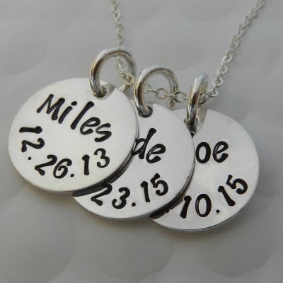 Personalized Gift for Mom, Three Name necklace, Kids name and date necklace, Custom Hand Stamped, Gift from Daughter/ Son, Gift from husband